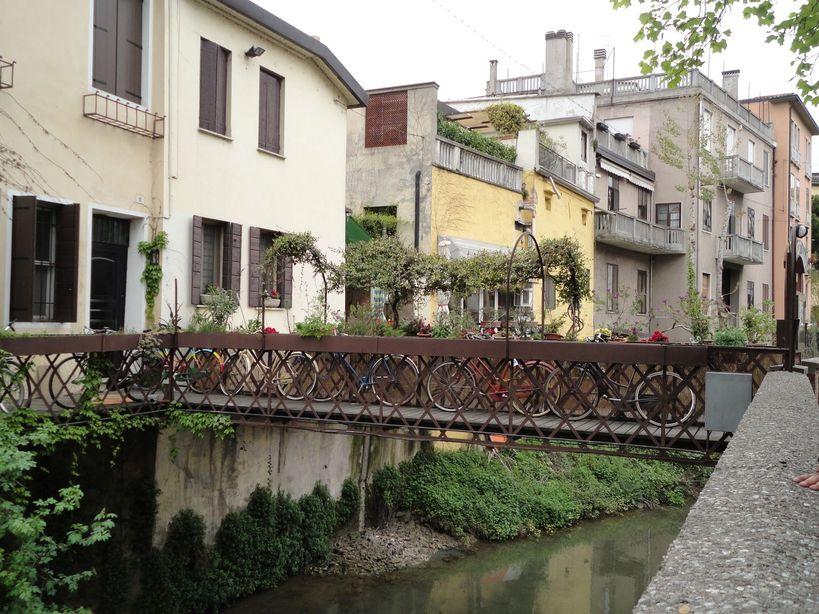 Bicycles on a bridge. Padua, Italy