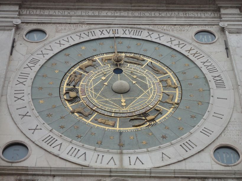 What is the time? Astronomical clock, Piazza dei Signori, Padua, Italy