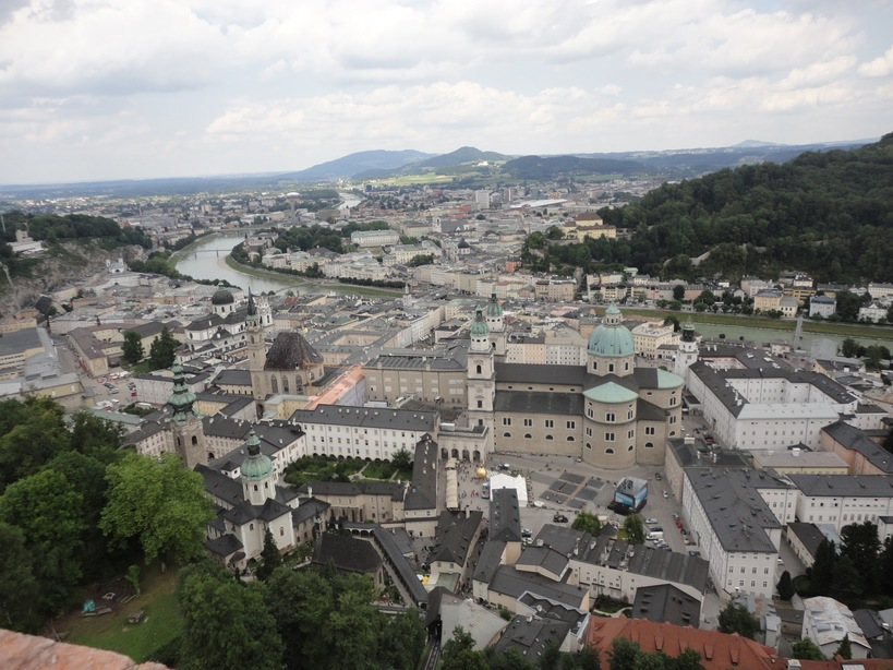 Salzburg city from the Hohensalzburg Castle (Fortress). Austria