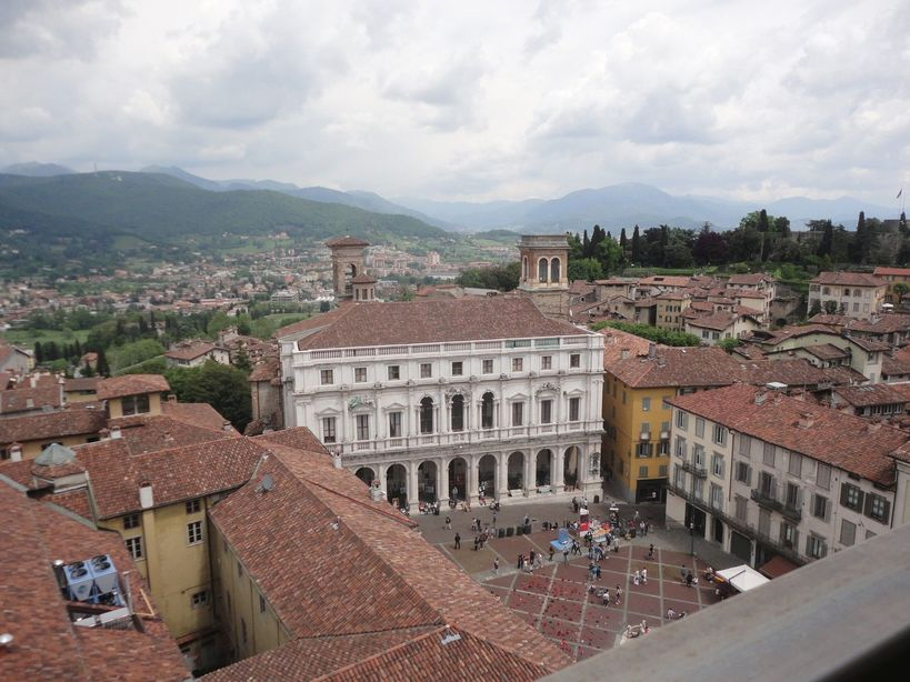 Piazza Vecchia from the bell tower. Bergamo, Italy