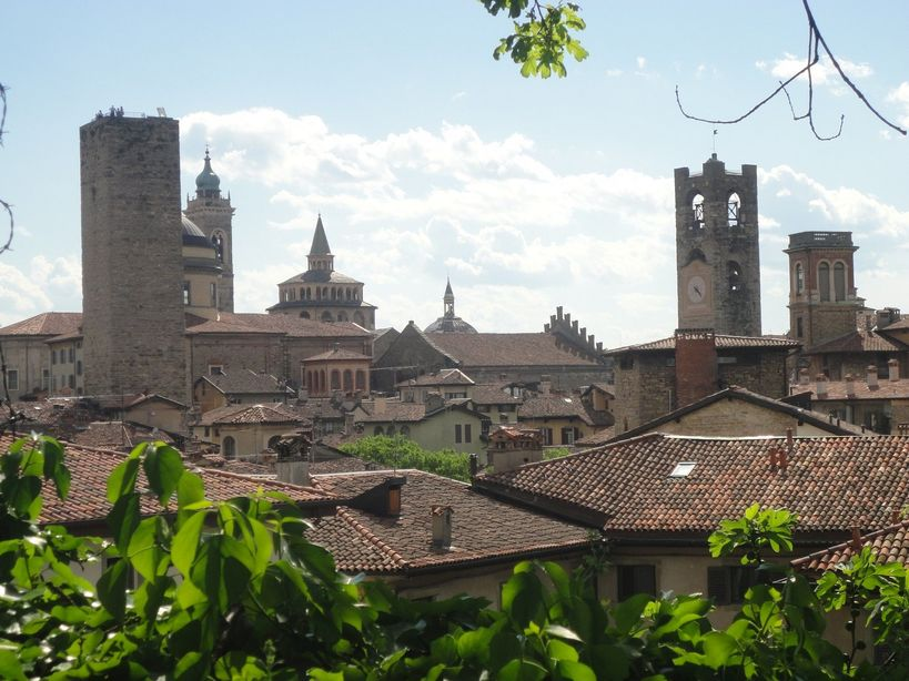Over the rooftops and towers. Bergamo, Italy.