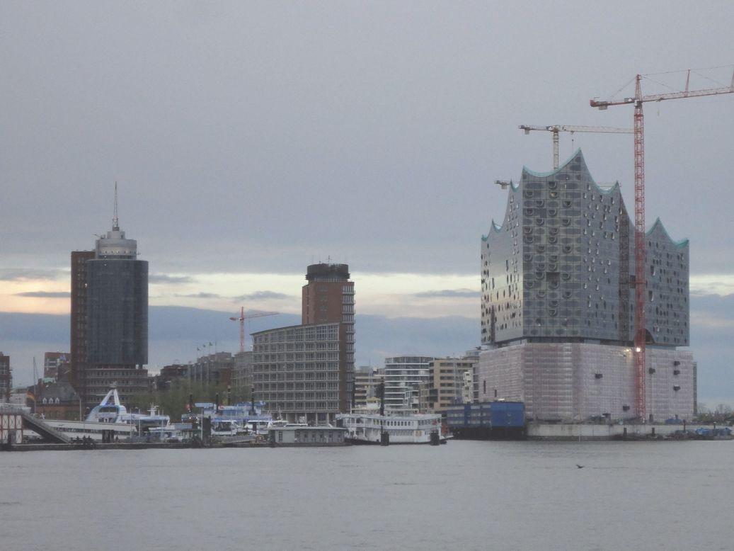 The Hamburg skyline from Steinwerder. Hamburg, Germany