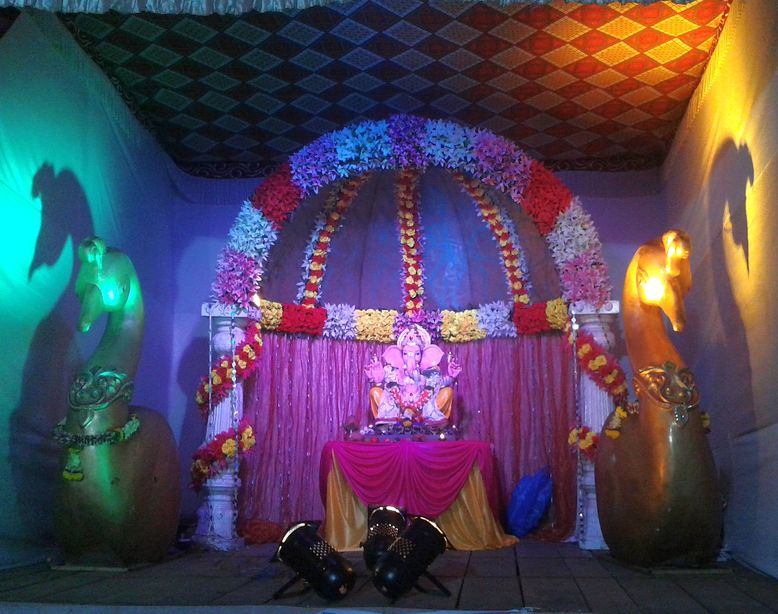 Tranquil settings. Ganesh Chaturthi, Pune, India