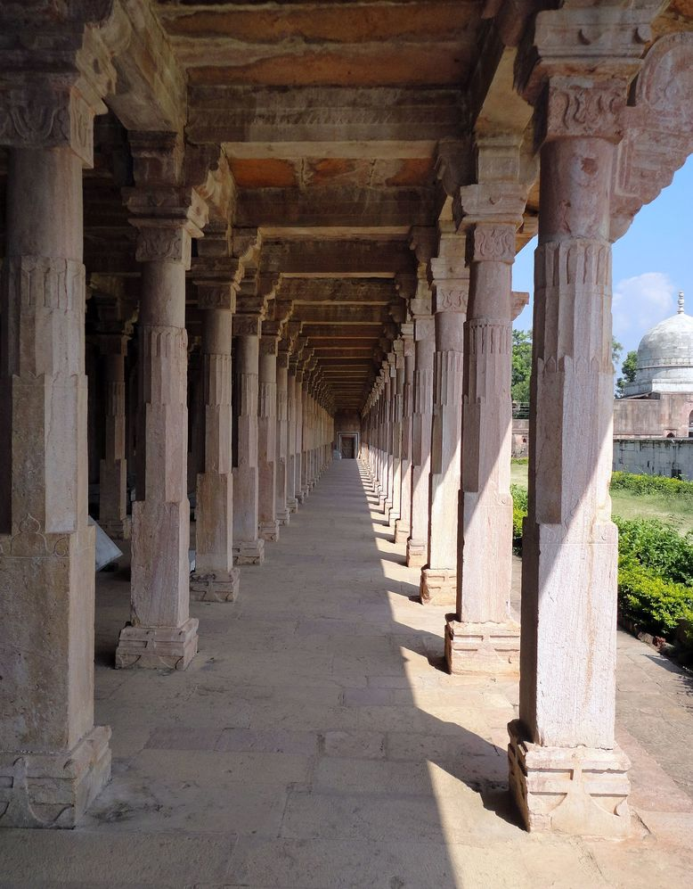 Pillars of the Dharamshala. Near Hoshang Shah's Tomb, Mandu (Mandav), Madhya Pradesh.