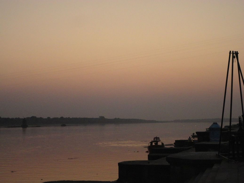 Sunset and Tranquil Moments at the Ghat. Maheshwar, Madhya Pradesh, India