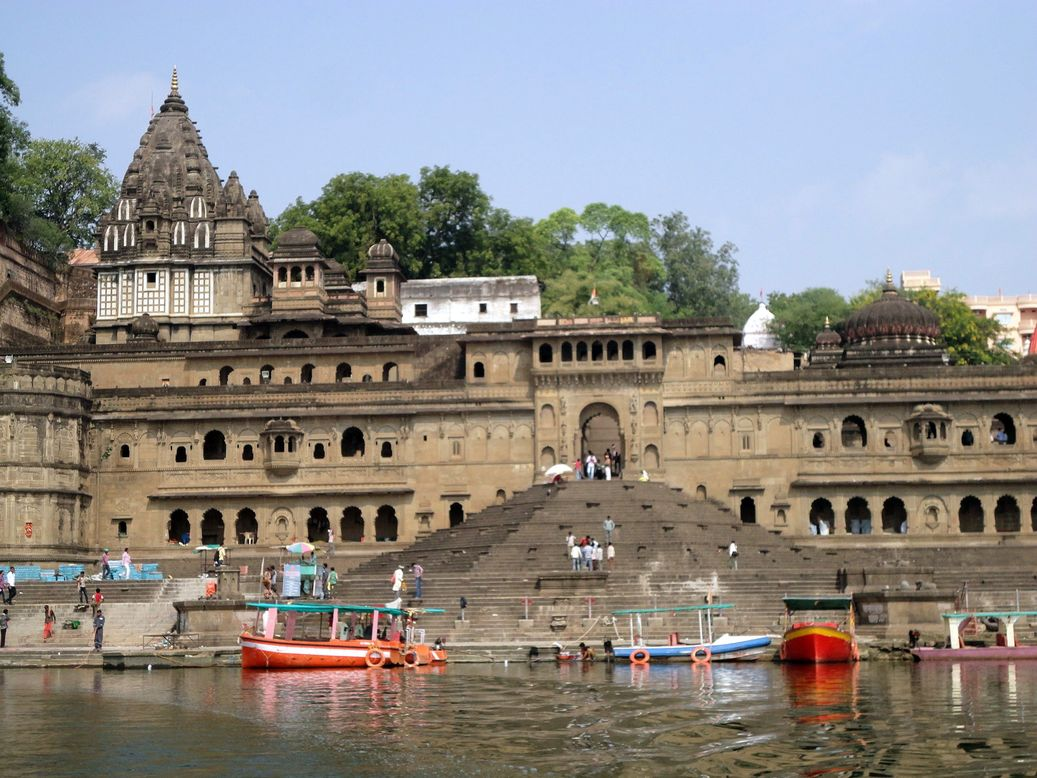 The Ghats along the River Narmada. Maheshwar, Madhya Pradesh, India
