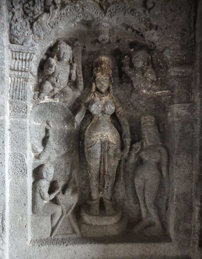 Mahamayuri, the Buddhist deity of wisdom. Cave 6, Ellora, Maharashtra, India
