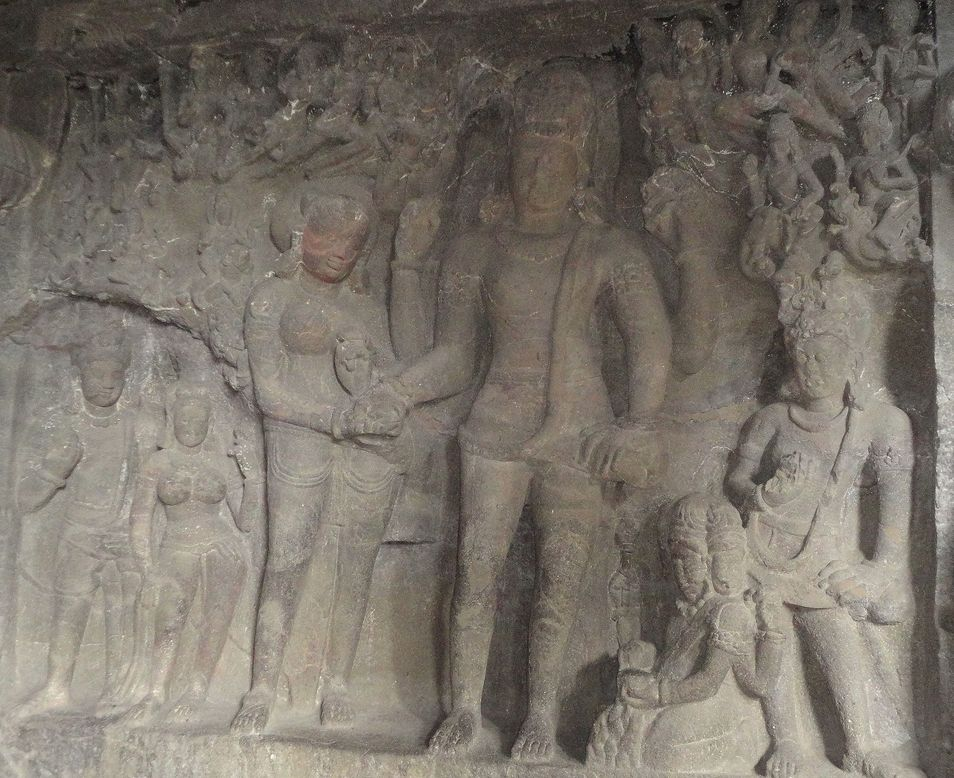 The wedding of Shiva and Parvati. Ellora Caves, Maharashtra, India