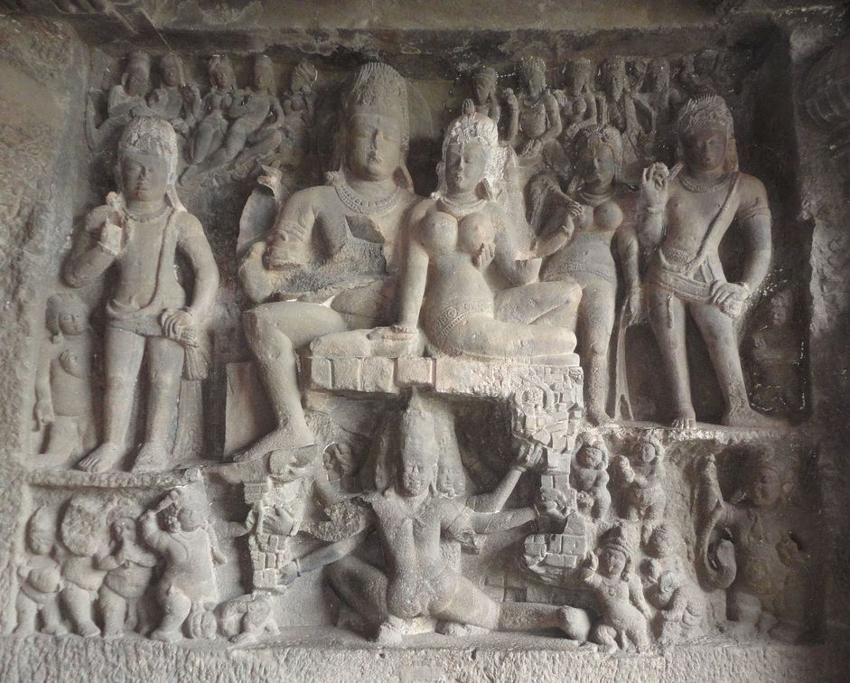 Ravana's attempts to shake Mount Kailash. Ellora Caves, Maharashtra, India