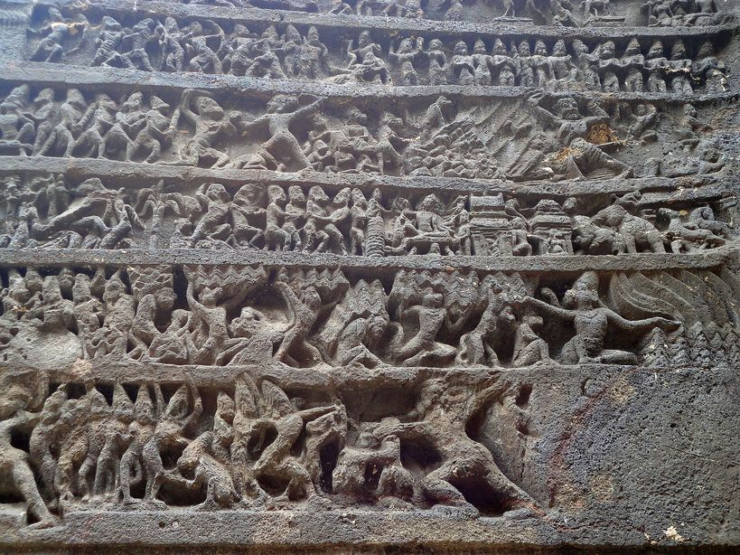 Stories from mythology at the magnificent Kailasa temple. Ellora caves, Maharashtra, India