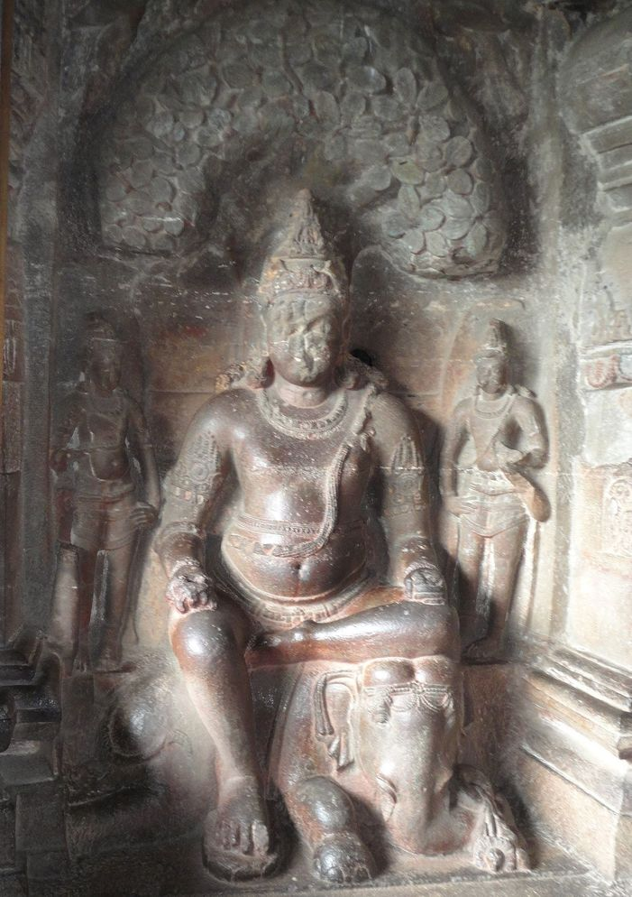Sculptures in the Jain caves. Ellora, Maharashtra, India