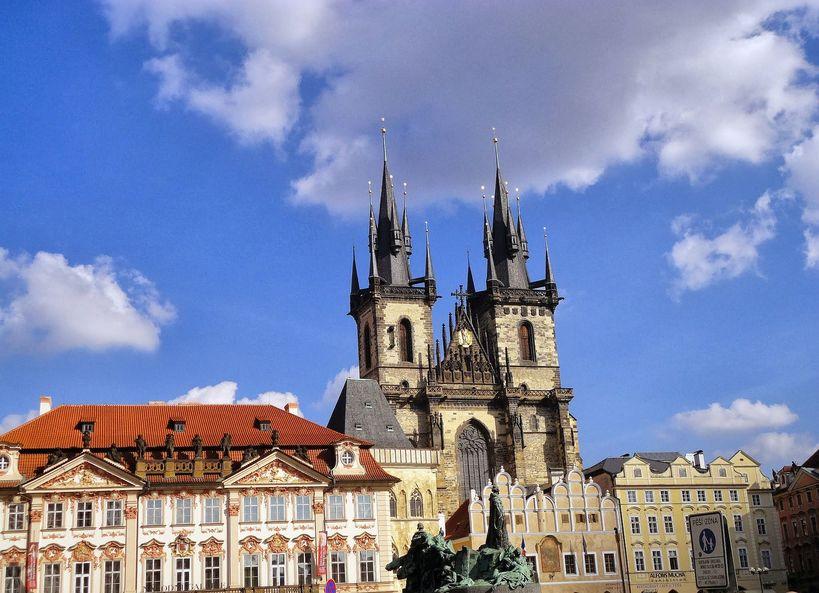 The Pretty Old Town Square. Prague, Czech Republic.