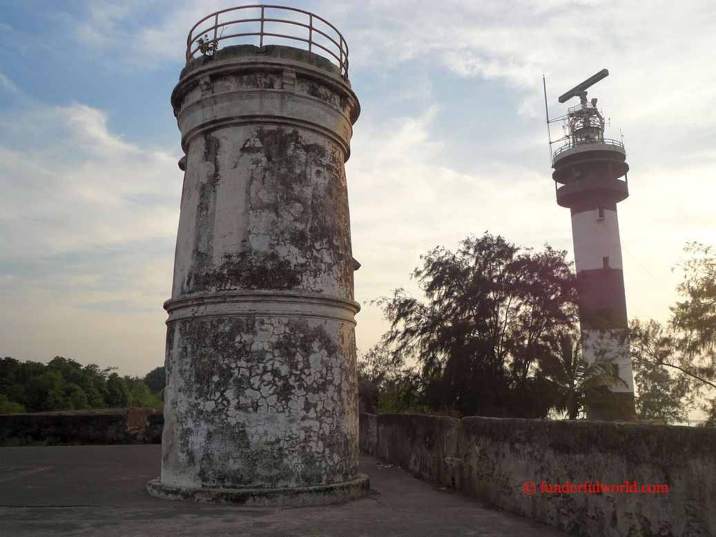 The old and the new. Lighthouses at Moti Daman, India.