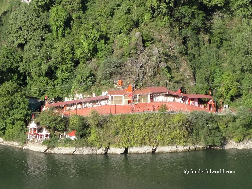 The Pashan Devi temple along the lake. Nainital, Uttarakhand, India.