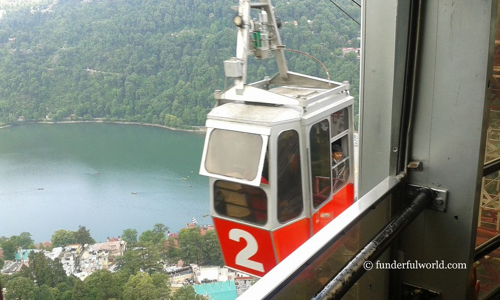 Up, up, and away! Aerial ropeway, Snow View Point, Nainital, India.