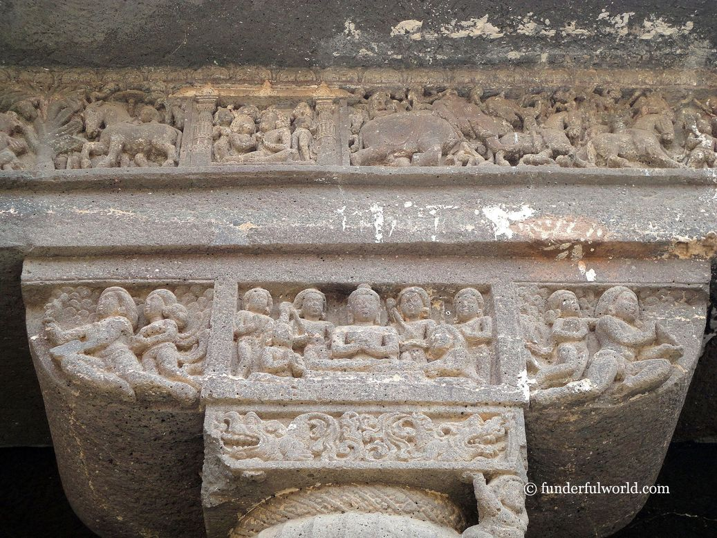 Exquisite work in stone. Ajanta Caves, Maharashtra, India.