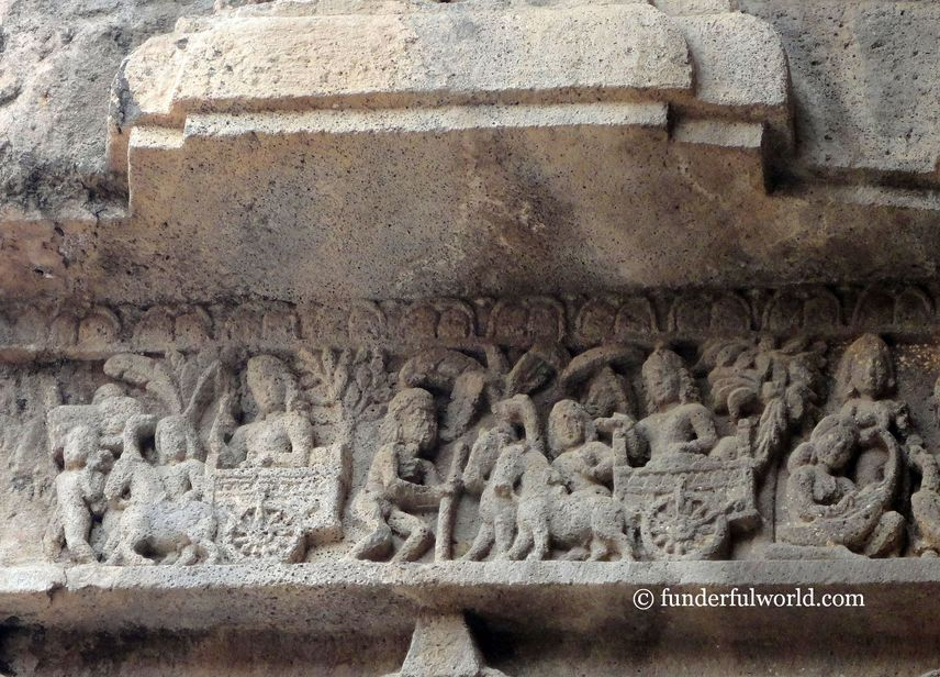 The important sights witnessed by Prince Siddhartha. Ajanta Caves, Maharashtra, India.