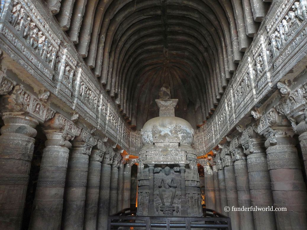 Architectural marvel. Cave 21, Ajanta Caves, India.